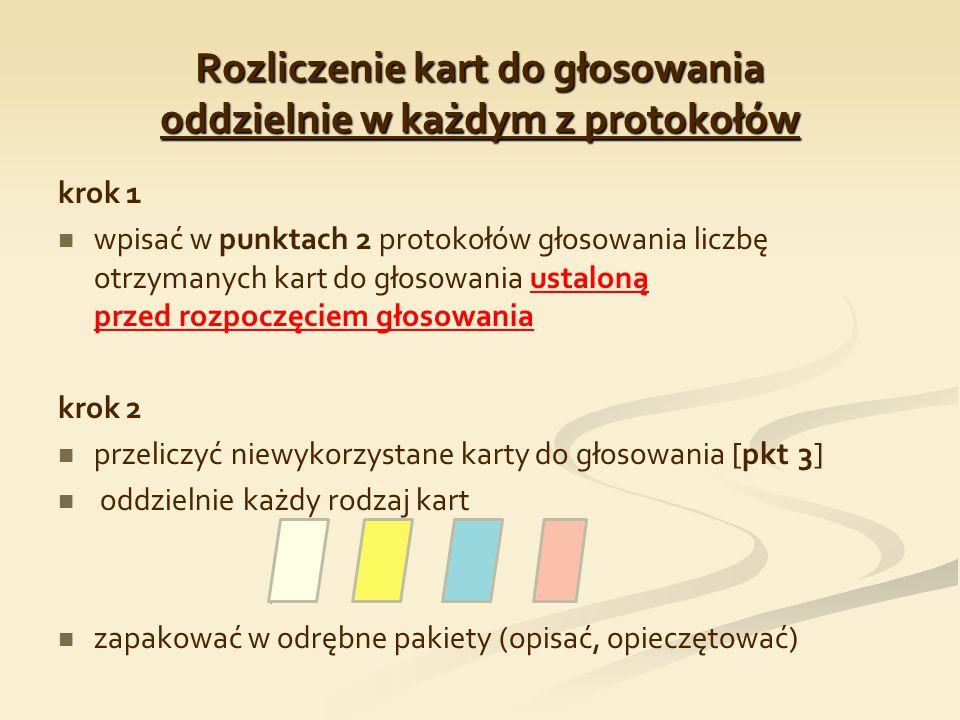 Rozliczenie kart do głosowania oddzielnie w każdym z protokołów