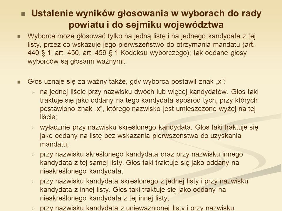 Ustalenie wyników głosowania w wyborach do rady powiatu i do sejmiku województwa