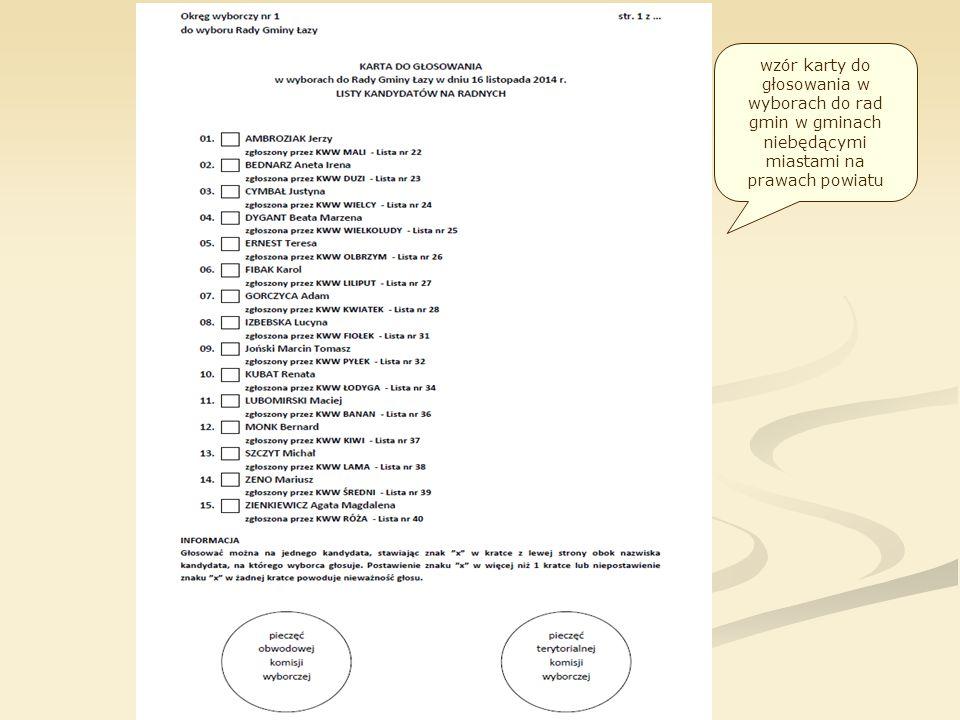 wzór karty do głosowania w wyborach do rad gmin w gminach niebędącymi miastami na prawach powiatu