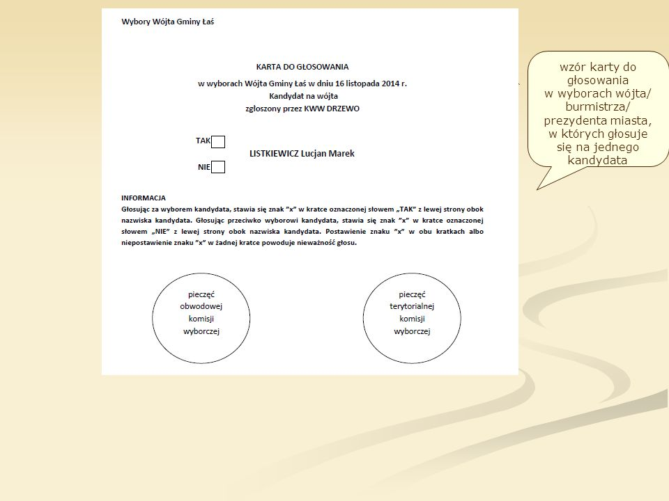 wzór karty do głosowania w wyborach wójta/ burmistrza/ prezydenta miasta, w których głosuje się na jednego kandydata