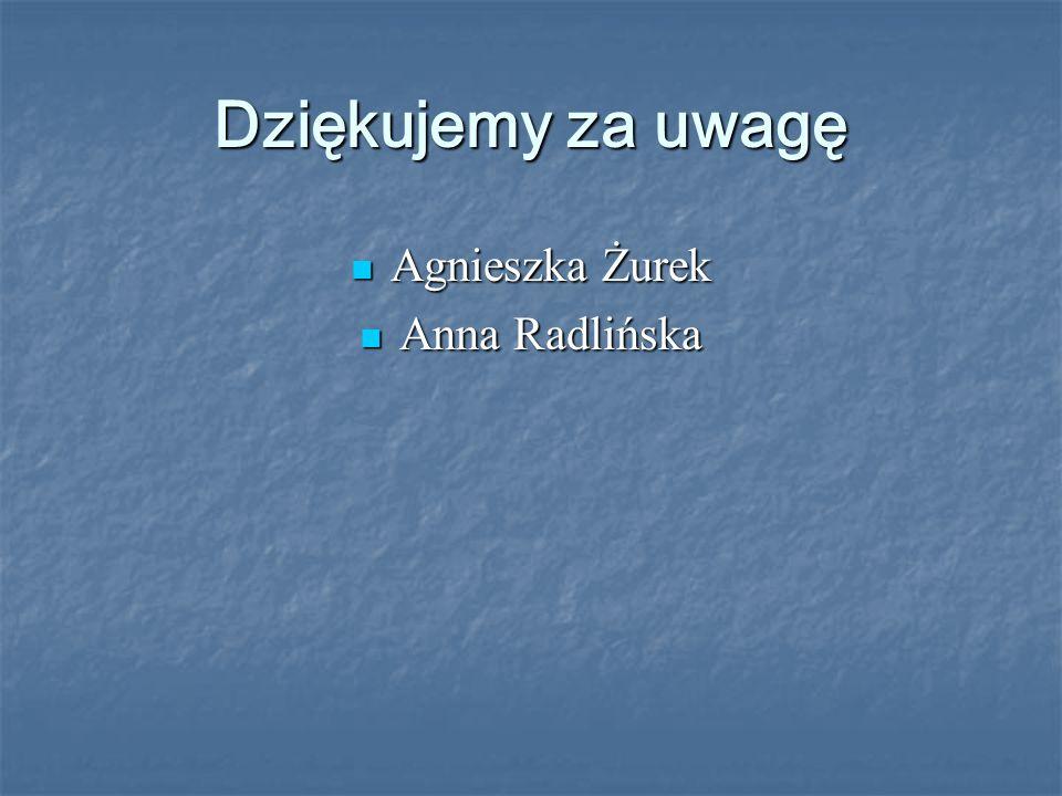 Dziękujemy za uwagę Agnieszka Żurek Anna Radlińska