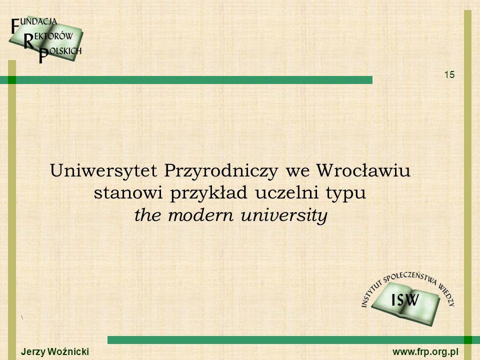 Uniwersytet Przyrodniczy we Wrocławiu stanowi przykład uczelni typu