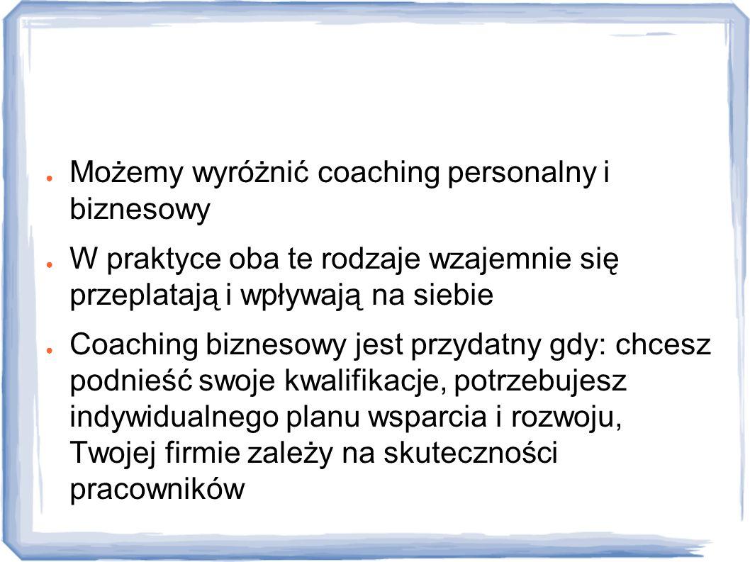 Rodzaje Możemy wyróżnić coaching personalny i biznesowy