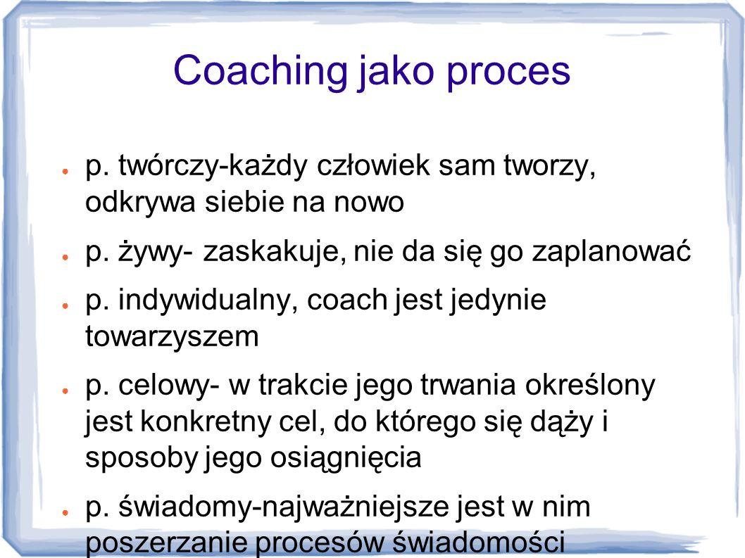 Coaching jako proces p. twórczy-każdy człowiek sam tworzy, odkrywa siebie na nowo. p. żywy- zaskakuje, nie da się go zaplanować.