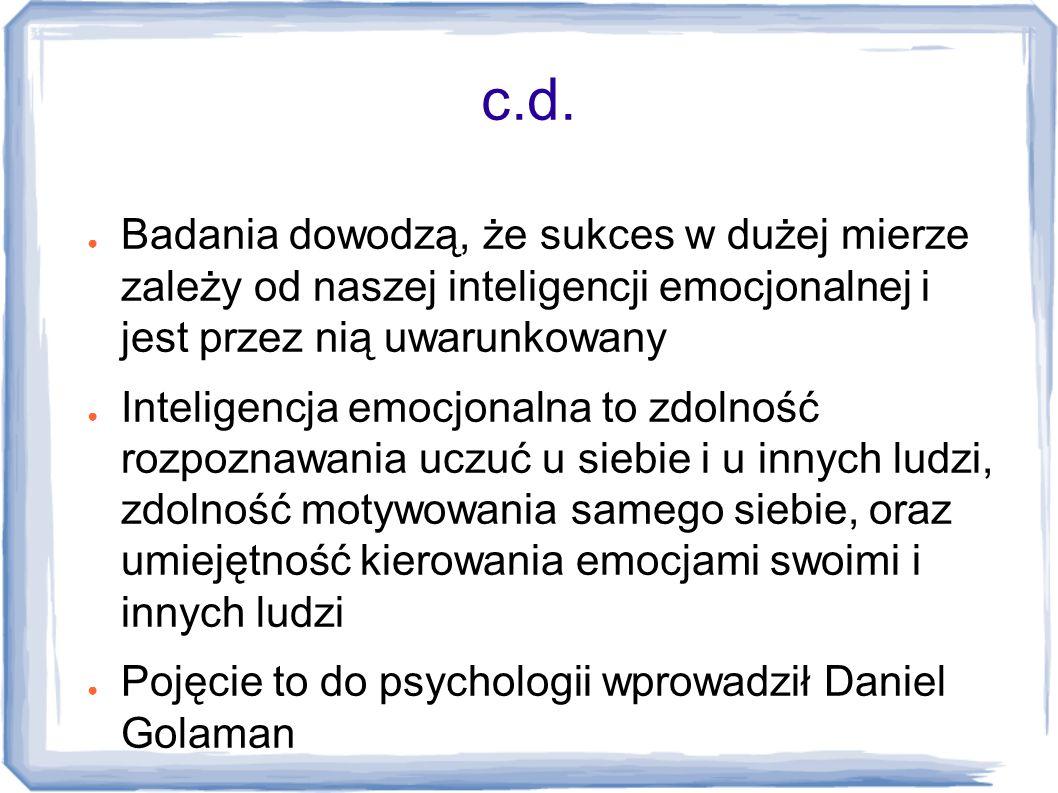 c.d. Badania dowodzą, że sukces w dużej mierze zależy od naszej inteligencji emocjonalnej i jest przez nią uwarunkowany.