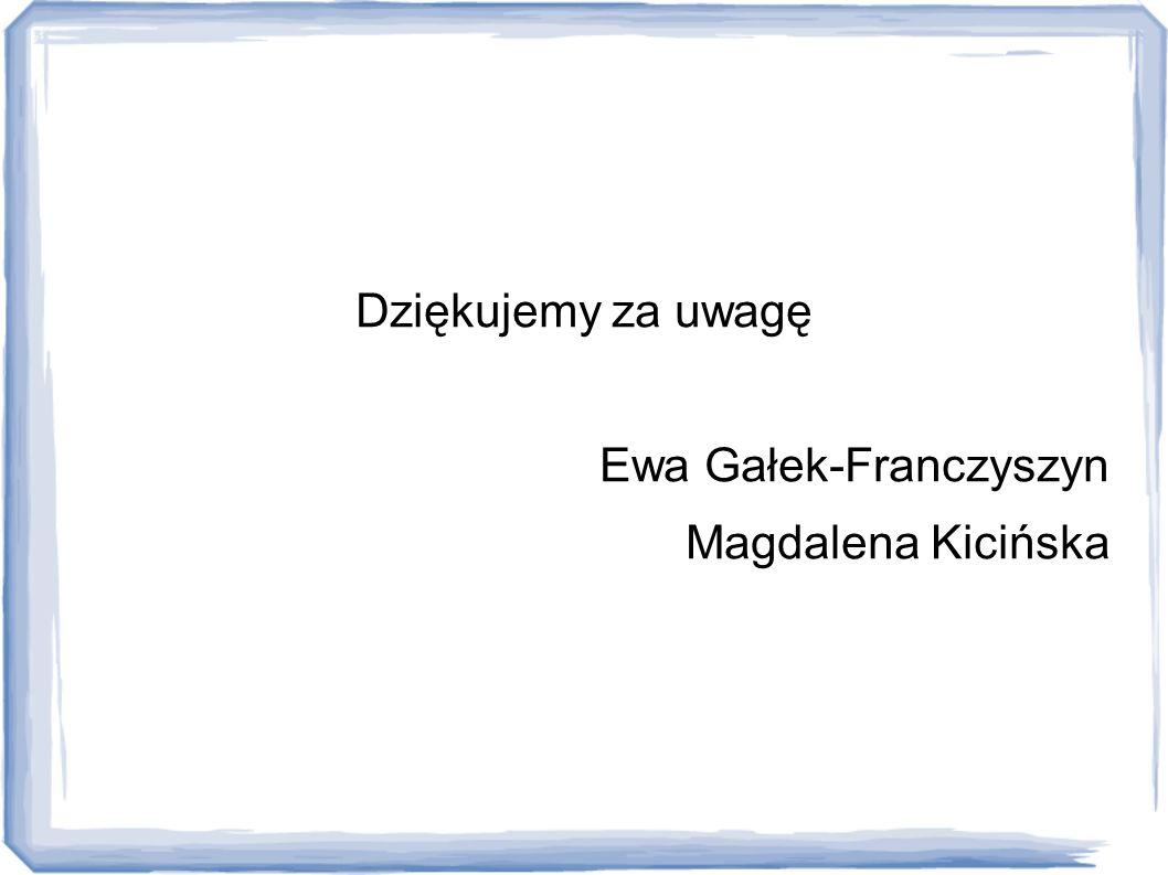 Dziękujemy za uwagę Ewa Gałek-Franczyszyn Magdalena Kicińska