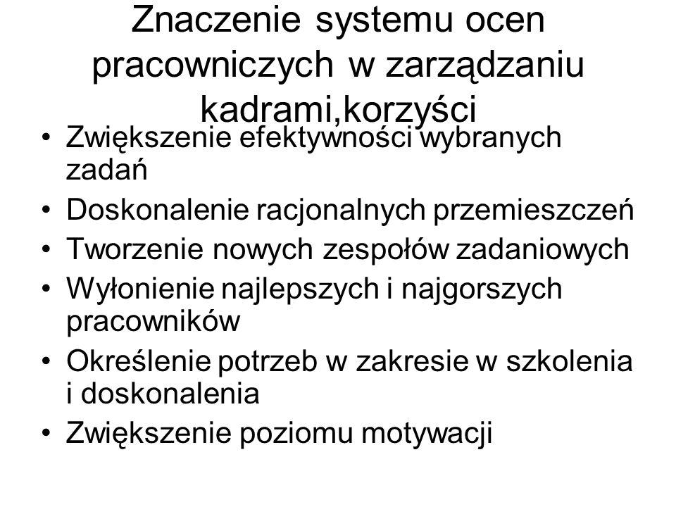 Znaczenie systemu ocen pracowniczych w zarządzaniu kadrami,korzyści