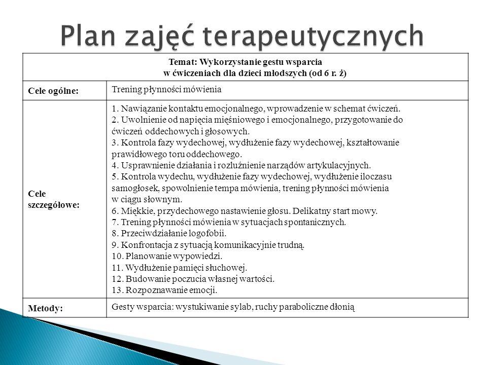 Plan zajęć terapeutycznych