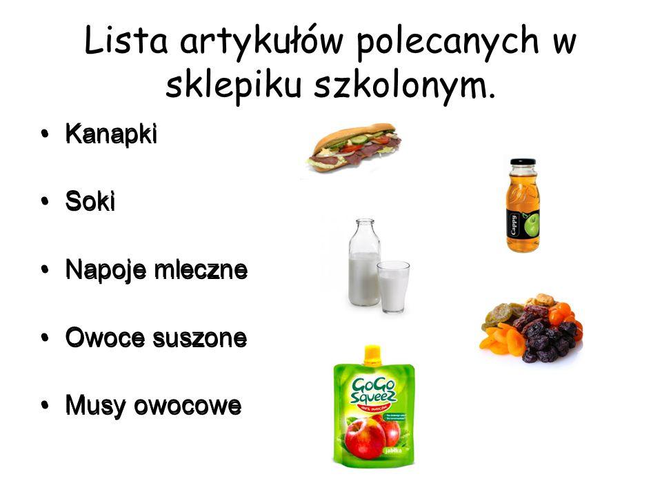 Lista artykułów polecanych w sklepiku szkolonym.