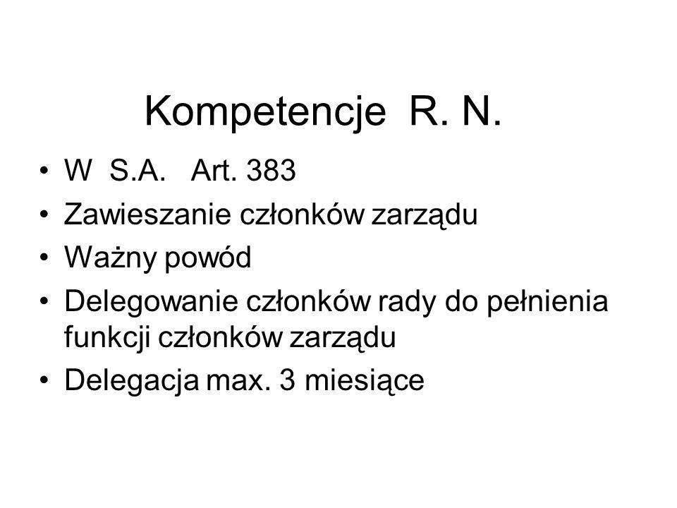 Kompetencje R. N. W S.A. Art. 383 Zawieszanie członków zarządu