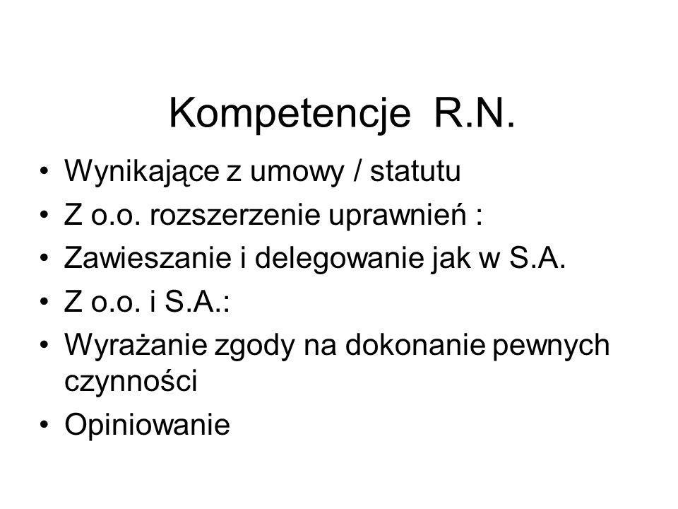 Kompetencje R.N. Wynikające z umowy / statutu
