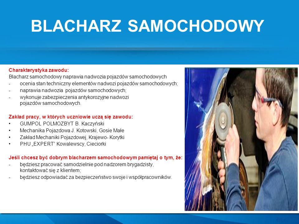 BLACHARZ SAMOCHODOWY Charakterystyka zawodu: