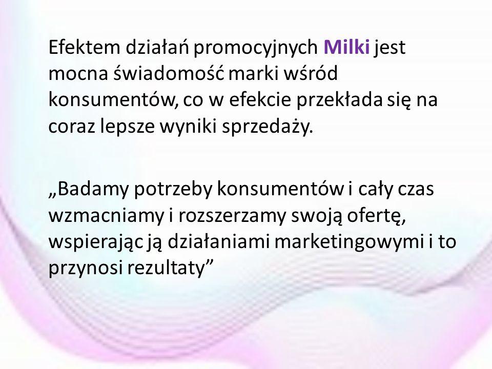Efektem działań promocyjnych Milki jest mocna świadomość marki wśród konsumentów, co w efekcie przekłada się na coraz lepsze wyniki sprzedaży.