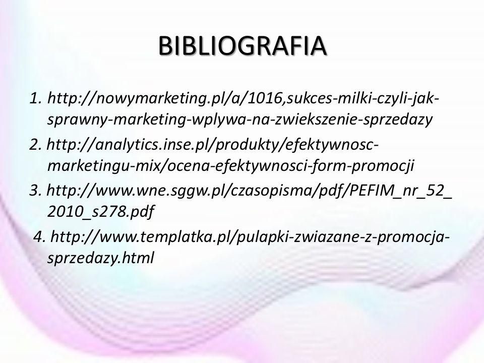 BIBLIOGRAFIA 1. http://nowymarketing.pl/a/1016,sukces-milki-czyli-jak-sprawny-marketing-wplywa-na-zwiekszenie-sprzedazy.