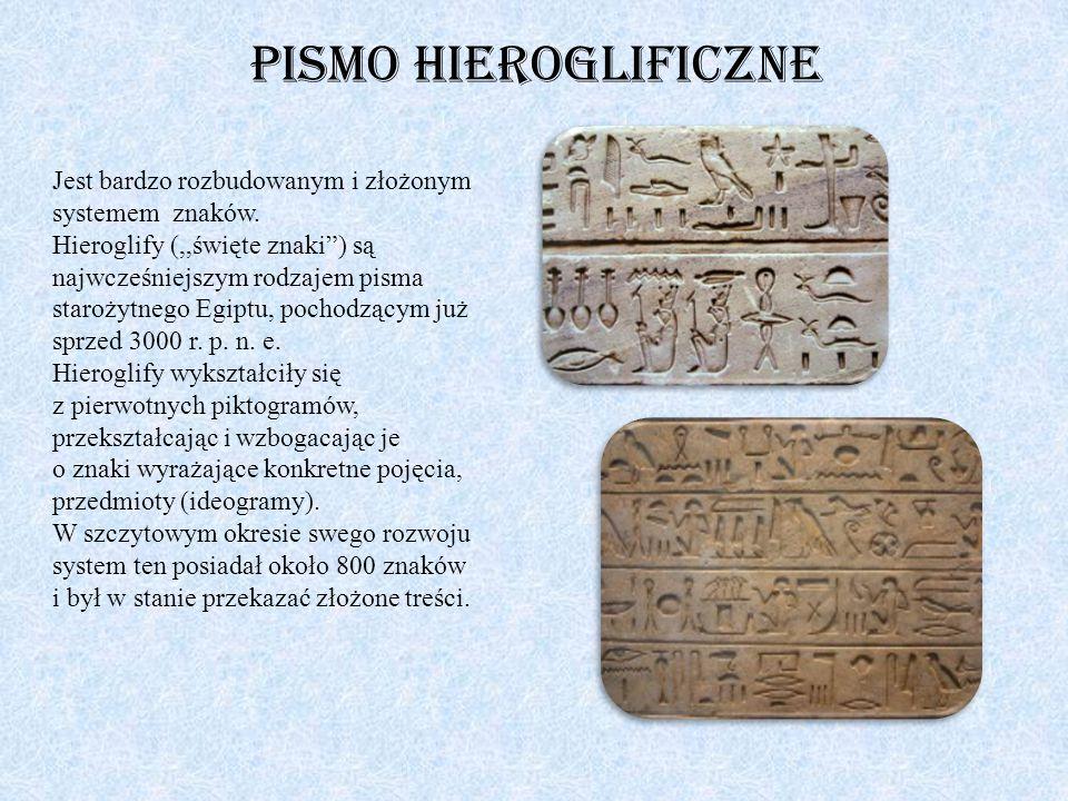 Pismo hieroglificzne Jest bardzo rozbudowanym i złożonym systemem znaków.