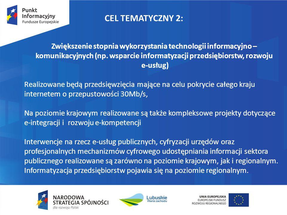 CEL TEMATYCZNY 2: Zwiększenie stopnia wykorzystania technologii informacyjno – komunikacyjnych (np. wsparcie informatyzacji przedsiębiorstw, rozwoju.