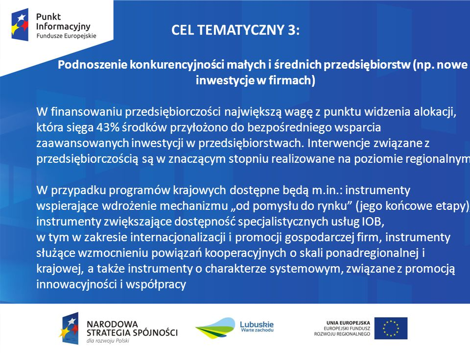 CEL TEMATYCZNY 3: Podnoszenie konkurencyjności małych i średnich przedsiębiorstw (np. nowe inwestycje w firmach)