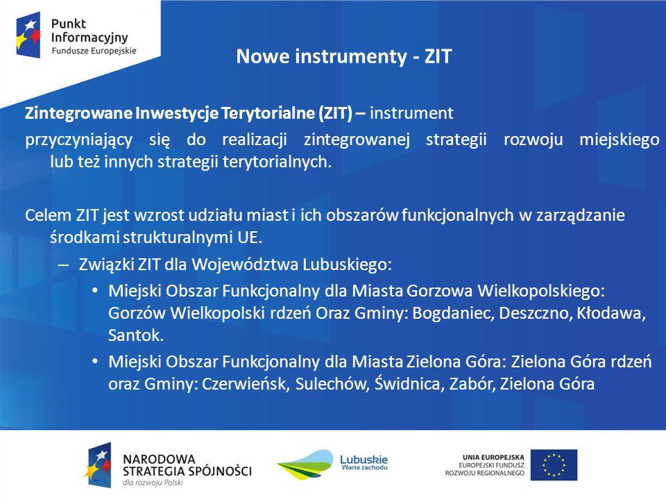 Nowe instrumenty - ZIT Zintegrowane Inwestycje Terytorialne (ZIT) – instrument.