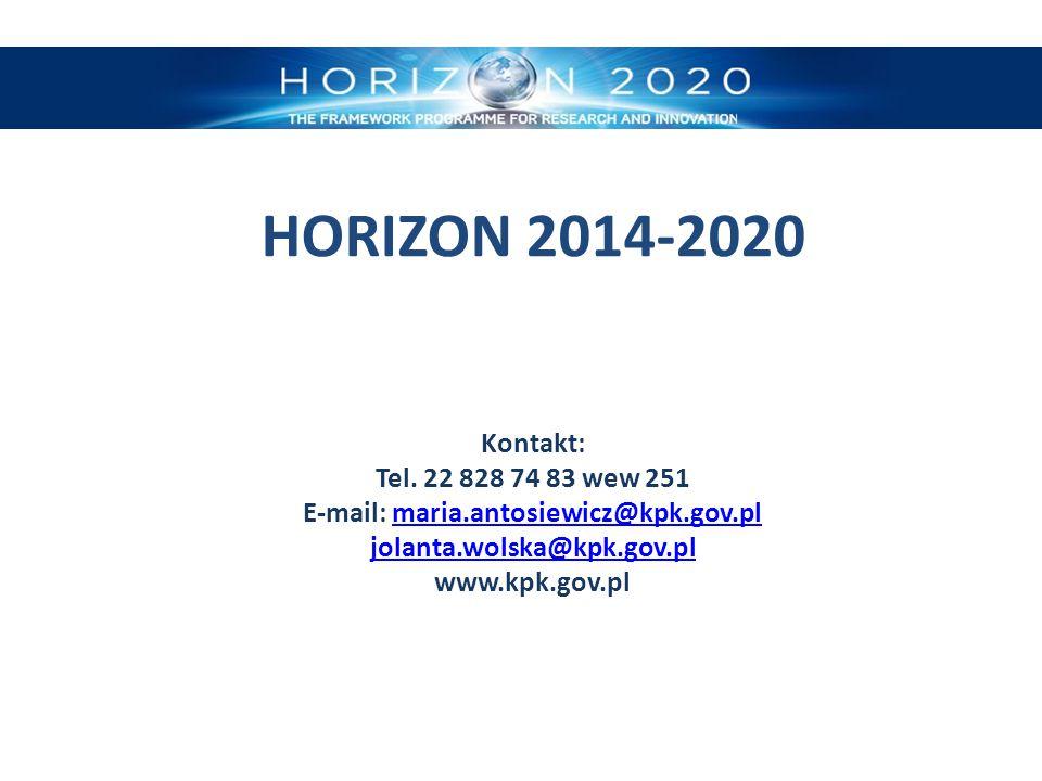 HORIZON 2014-2020 Kontakt: Tel. 22 828 74 83 wew 251 E-mail: maria
