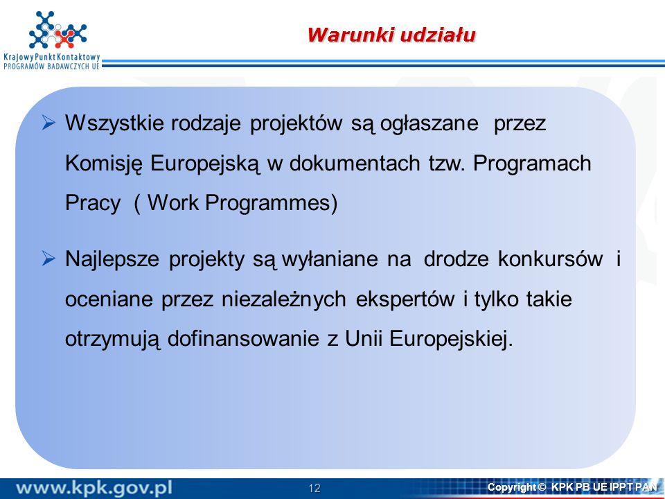 Warunki udziału Wszystkie rodzaje projektów są ogłaszane przez Komisję Europejską w dokumentach tzw. Programach Pracy ( Work Programmes)