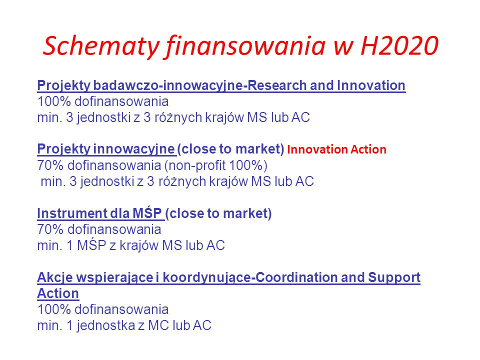 Schematy finansowania w H2020