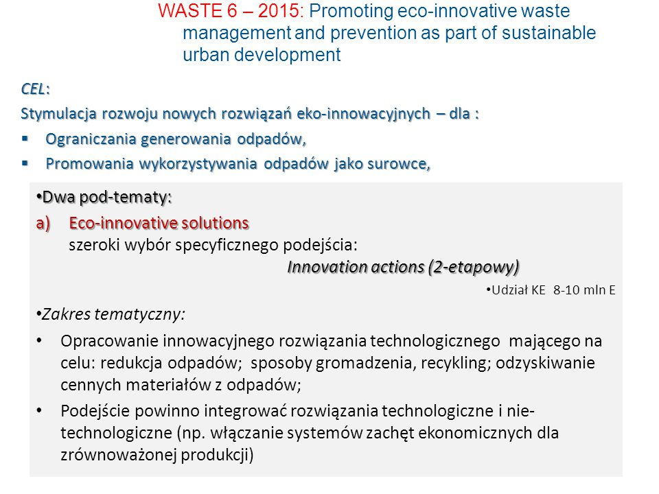 WASTE 6 – 2015: Promoting eco-innovative waste management and prevention as part of sustainable urban development