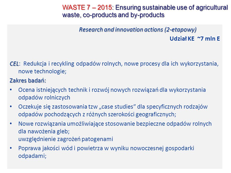 WASTE 7 – 2015: Ensuring sustainable use of agricultural waste, co-products and by-products
