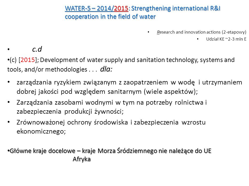 WATER-5 – 2014/2015: Strengthening international R&I cooperation in the field of water