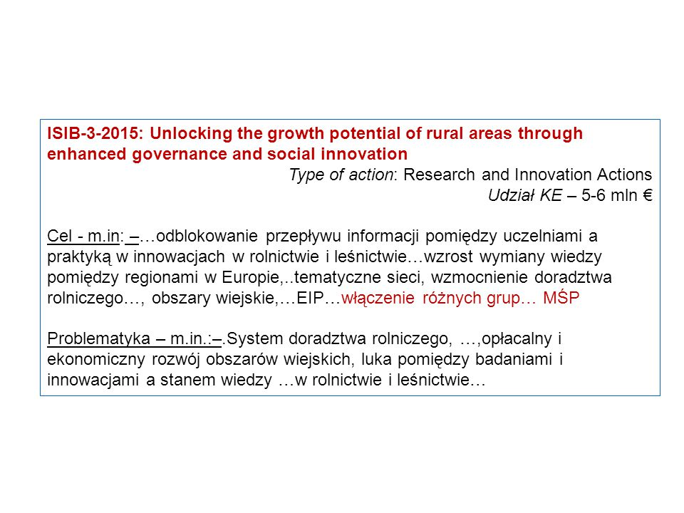 ISIB-3-2015: Unlocking the growth potential of rural areas through enhanced governance and social innovation