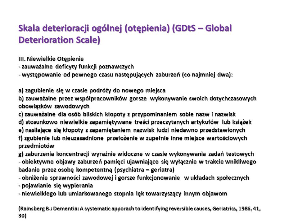 Skala deterioracji ogólnej (otępienia) (GDtS – Global Deterioration Scale) III.