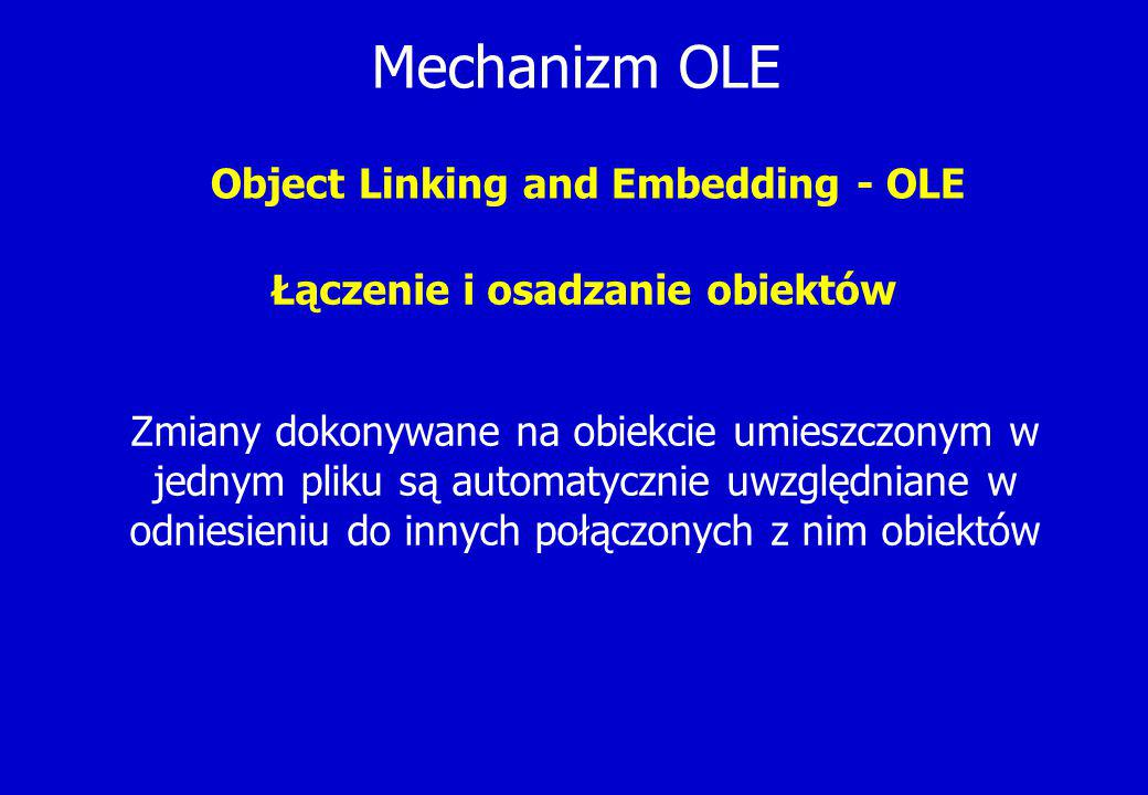 Mechanizm OLE Object Linking and Embedding - OLE