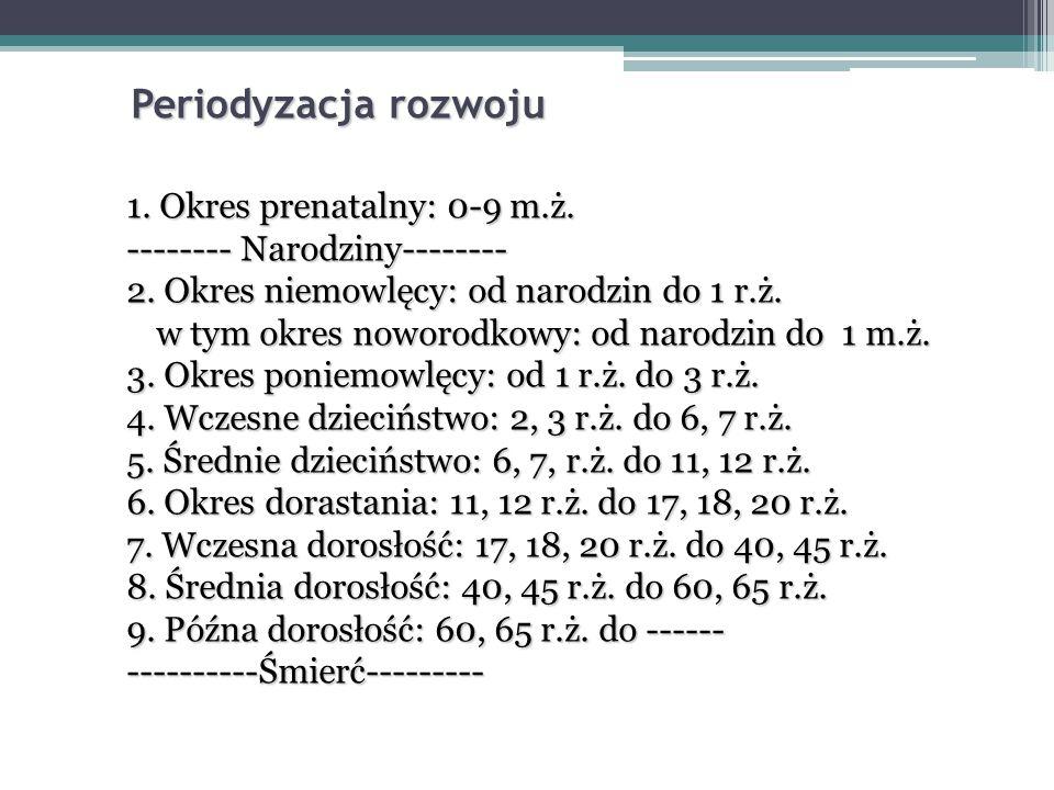 Periodyzacja rozwoju 1. Okres prenatalny: 0-9 m.ż.
