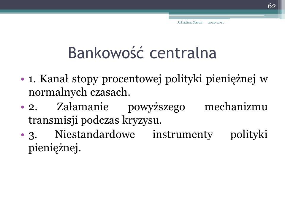 Arkadiusz Sieroń 2017-04-07. Bankowość centralna. 1. Kanał stopy procentowej polityki pieniężnej w normalnych czasach.