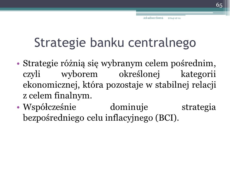 Strategie banku centralnego