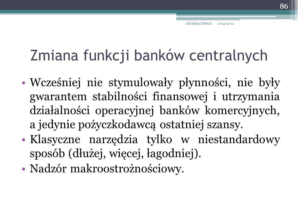 Zmiana funkcji banków centralnych