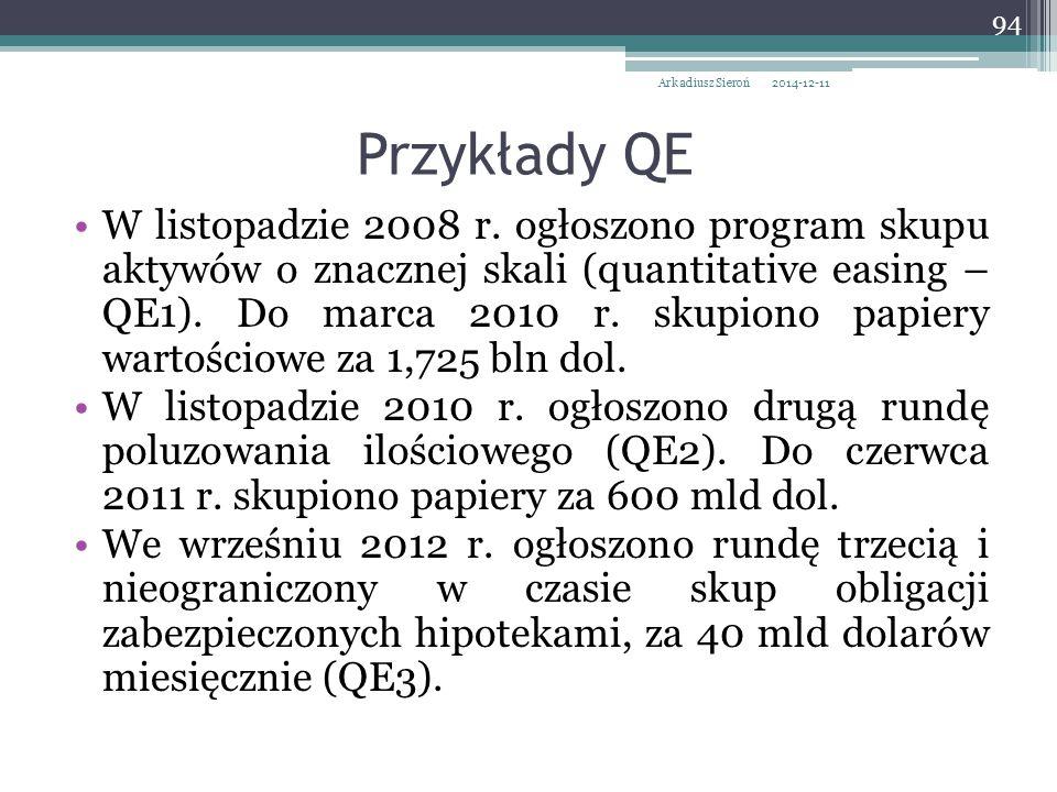 Arkadiusz Sieroń 2017-04-07. Przykłady QE.