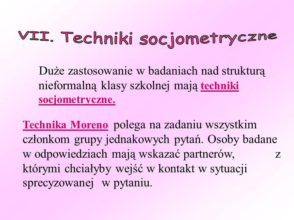 VII. Techniki socjometryczne