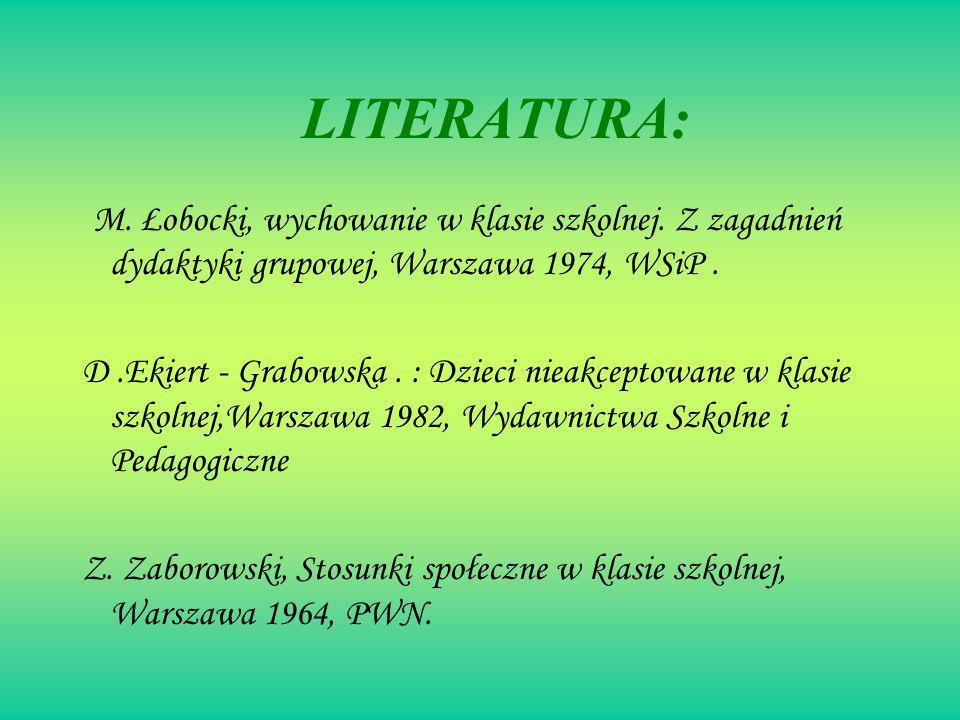 LITERATURA: M. Łobocki, wychowanie w klasie szkolnej. Z zagadnień dydaktyki grupowej, Warszawa 1974, WSiP .