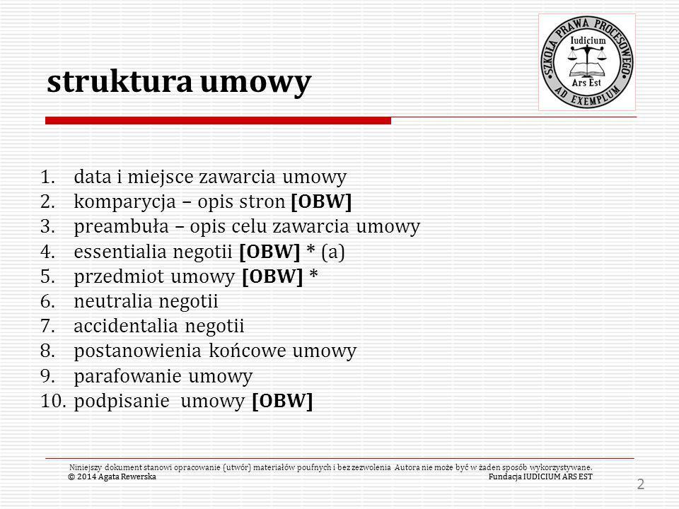 struktura umowy data i miejsce zawarcia umowy