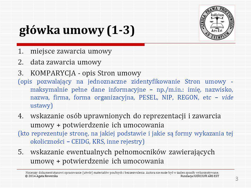 główka umowy (1-3) miejsce zawarcia umowy data zawarcia umowy