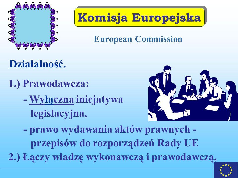 Komisja Europejska Działalność. 1.) Prawodawcza: - Wyłączna inicjatywa