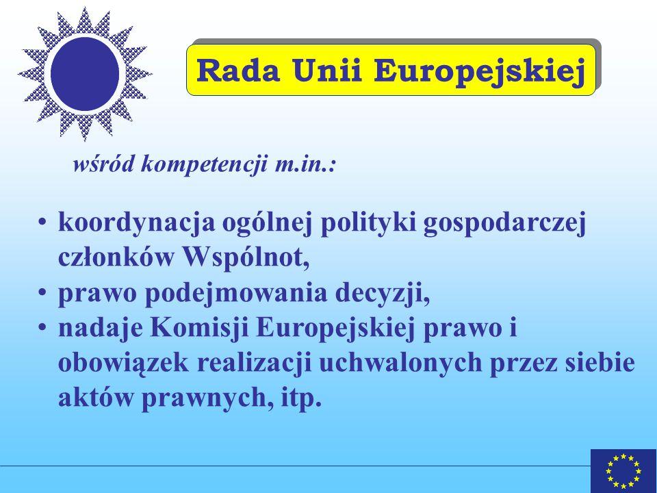 Rada Unii Europejskiej wśród kompetencji m.in.: