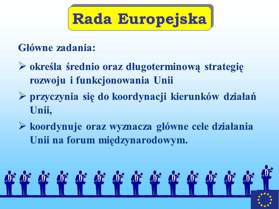 Rada Europejska Główne zadania: