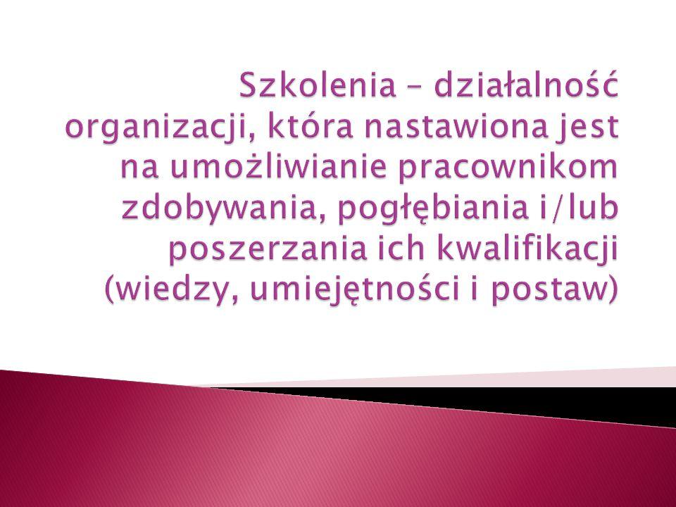 Szkolenia – działalność organizacji, która nastawiona jest na umożliwianie pracownikom zdobywania, pogłębiania i/lub poszerzania ich kwalifikacji (wiedzy, umiejętności i postaw)