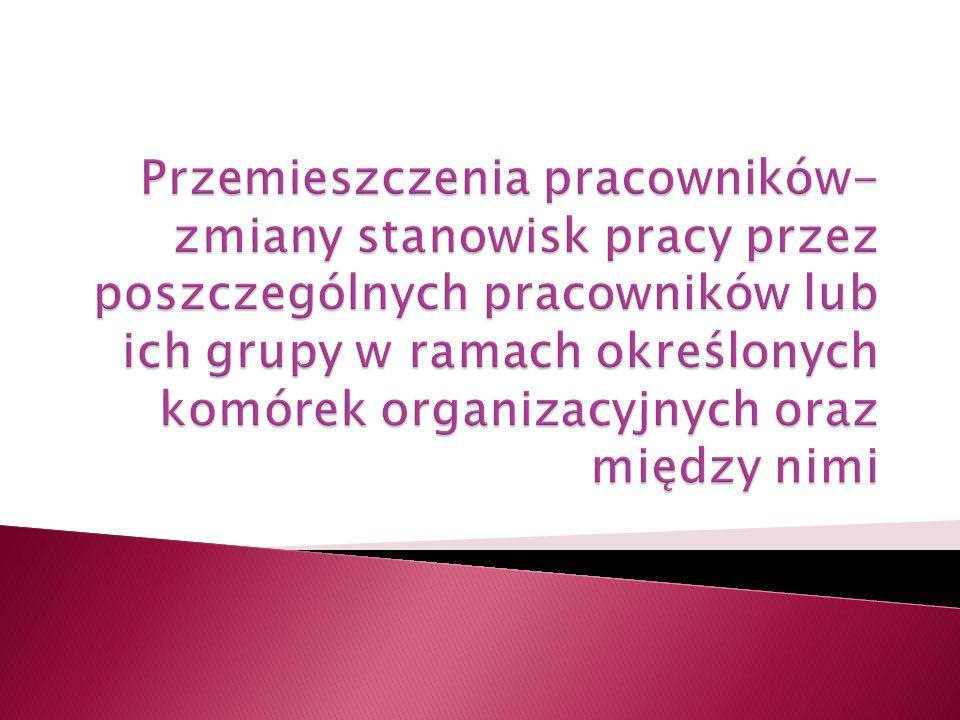 Przemieszczenia pracowników- zmiany stanowisk pracy przez poszczególnych pracowników lub ich grupy w ramach określonych komórek organizacyjnych oraz między nimi