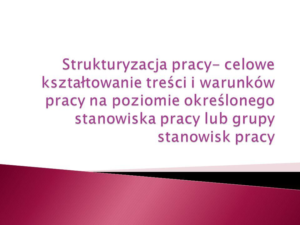Strukturyzacja pracy- celowe kształtowanie treści i warunków pracy na poziomie określonego stanowiska pracy lub grupy stanowisk pracy
