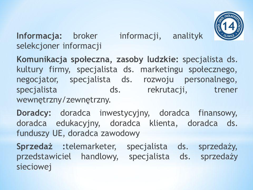 Informacja: broker informacji, analityk rynku, selekcjoner informacji