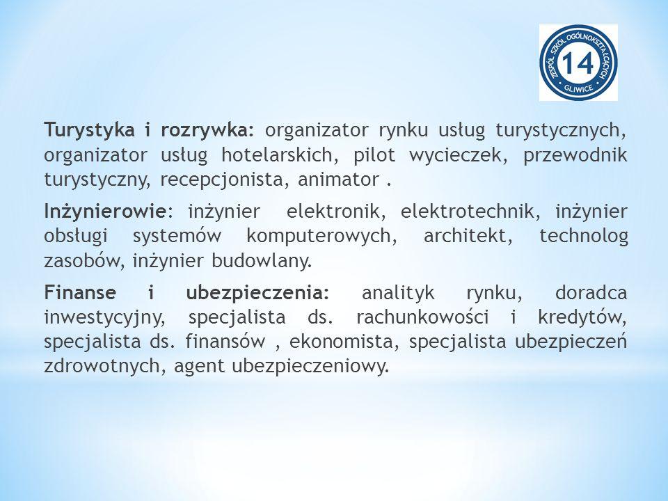 Turystyka i rozrywka: organizator rynku usług turystycznych, organizator usług hotelarskich, pilot wycieczek, przewodnik turystyczny, recepcjonista, animator .