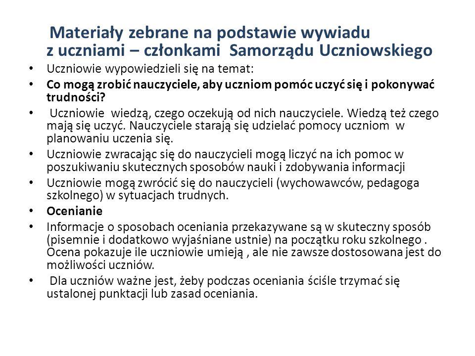 Materiały zebrane na podstawie wywiadu z uczniami – członkami Samorządu Uczniowskiego
