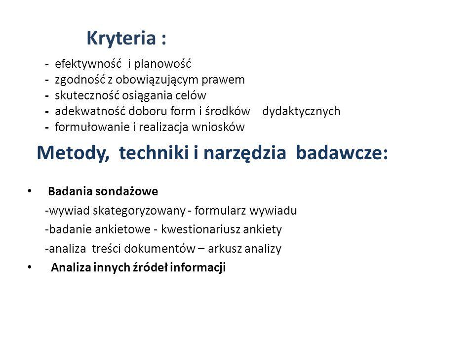 Kryteria : Metody, techniki i narzędzia badawcze: